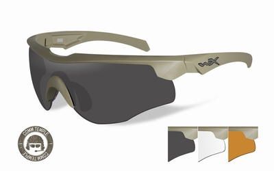 WileyX zonnebril schietbril ROGUE- COMM tan meerdere lenzen